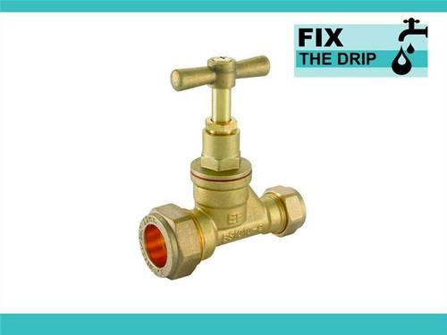 FtD Brass Compression Stopcock 22mm Copper x 15mm Copper Reducing FTB2003 5055639139855