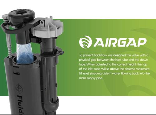 Fluidmaster AirGap 6000 Cistern Fill Valve 1/2 inch Brass Shank BS1212 Compliant FTB11650 5011629023009