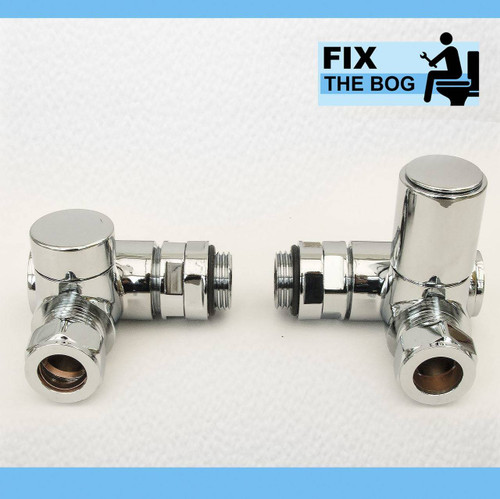 Dual Fuel Angled Corner Heated Towel Rail Radiator Valve Set FTB2046 5055639140059