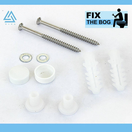 Viva PP0028/AW Straight Toilet Pan Fixing Kit with white caps for securing Toilet Pan to floor FTB5270 5060262730133
