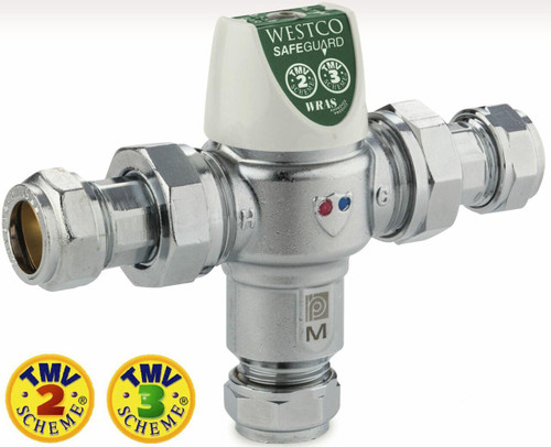 FixtheHeat 15mm Thermostatic Mixing Valve TMV2,TMV3, WRAS and BuildCert Approved Mandatory in New Build properties for bath FTB2852 5031426053375