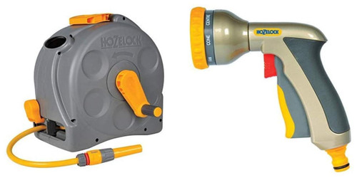 Hozelock Compact 2in1 Reel with 25m Hose 2415 and Hozelock Multi Plus Spray Gun 2691 FTB6174 5055639135574