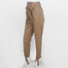 Casual High Waist Ankle Length Pants Women Elastic Tie Trousers With Pockets Running Sport Tights Trousers { brown }