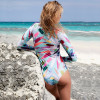 2018 Print Floral One Piece Swimsuit Long Sleeve Swimwear Women Bathing Suit Retro Swimsuit Vintage One-piece Surfing Swim Suits