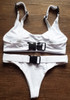 2018 Biquini White Sexy High Cut Brazilian Thong Bikinis Women Swimsuit Triangle Molle Buckle Girls Swimwear Women Bathing Suits