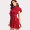 Women Party Dress Flounce Embellished Tied Neck Dress Red Tie Neck Cap Sleeve Ruffle Hem Zipper Back Sheath Dress