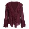 Elegant ruffles chiffon blouse shirt women Casual flare sleeve summer blouse tops 2018 Streetwear ladies blusas female