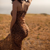 New Sexy Party Dress Straps Backless Leopard Printted Chiffon Maxi Long Dress