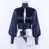 High Fashion Navy Shirt Women Stand Collar Lantern Long Sleeves Ribbons Cut Out Casual Backless Top IG Sexy Ribbons Tie Blouse