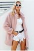Elegant pink shaggy women faux fur coat streetwear Autumn winter warm plush teddy coat Female plus size overcoat party