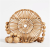 Circle Bamboo Woven Bag Flip cover Hollow Women Brands bag Summer wood Beach Bags for Ladies and Girls Beaded Shoulder bag