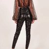 Sexy Ladies Leather Skinny High Waist pants Stretchy Pencil Pants Trousers Women PU Leather Fold Body Fitness Pants