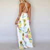 2019 summer women spaghetti strap dress V Neck print chiffon female empire dress bohemian floor length dress
