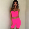 Neon Pink Fashion Women's Sets Camis Crop Tops Tank Summer Sexy Outfits Two Pieces Set Casual Biker Shorts