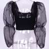 Vintage Mesh Puff Sleeve Women's Tops and Blouses Shirts Sexy Backless Crop Tops Chic Fashion Summer Tee Shirts