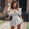 sexy mini dress vintage Polka dot print Chiffon dresses Square Neck Ruffle Sleeve boho summer dress party women dresses