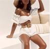 2019 New Summer Women Pants Strapless Two Pieces Pants Sexy Fashion Elegant Club Celebrity Party White Mini Pants Vestidos houseofcb, sorelle