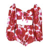 Sexy Print Beach Women Suit Square Neck Lantern Sleeve Hollow Out Crop Tops High Waist Shorts Two Piece Set Female