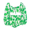 Sexy Print Beach Women Suit Square Neck Lantern Sleeve Hollow Out Crop Tops High Waist Shorts Two Piece Set Female Green