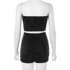 Two Piece Shorts Set Women Slash Neck Sexy Backless Strapless Crop Tops Solid High Waist Pocket Short Pants 2019