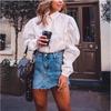 2019 trendy lantern sleeve white blouses shirt women button down stand collar female blusas shirt tops streetwear