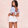Short Puff Sleeve Sexy Backless Zipper Blouses Women Shirts Fashion Square Collar Solid Crop Tops Streetwear 2019