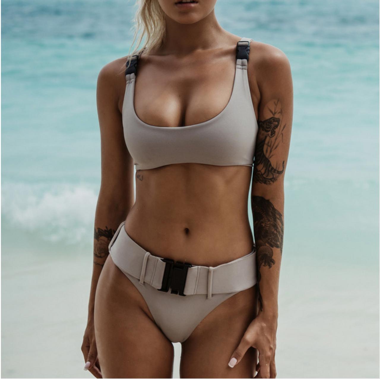 91964288572 2018 Biquini White Sexy High Cut Brazilian Thong Bikinis Women Swimsuit  Triangle Molle Buckle Girls Swimwear Women Bathing Suits