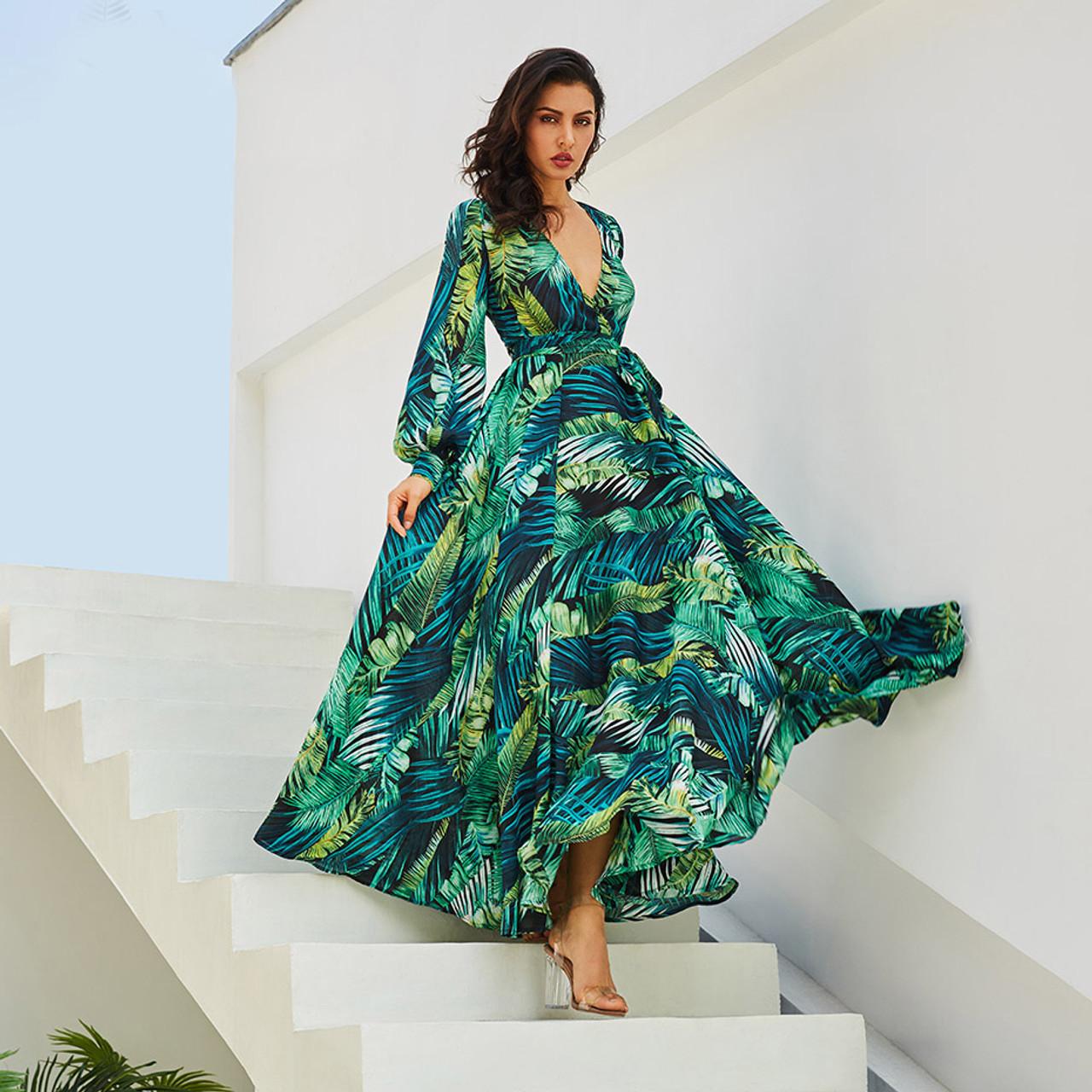 Long Sleeve Dress Green Tropical Print Vintage Maxi Dresses Boho Casual V  Neck Belt Lace Up Tunic Draped Plus Size Dress