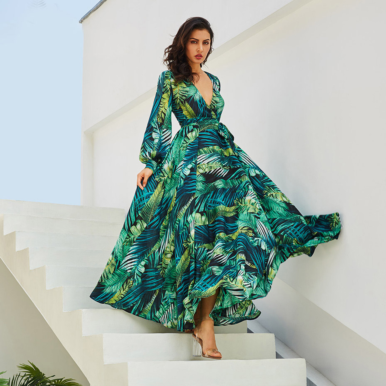 a896ea1ee04 Long Sleeve Dress Green Tropical Print Vintage Maxi Dresses Boho ...