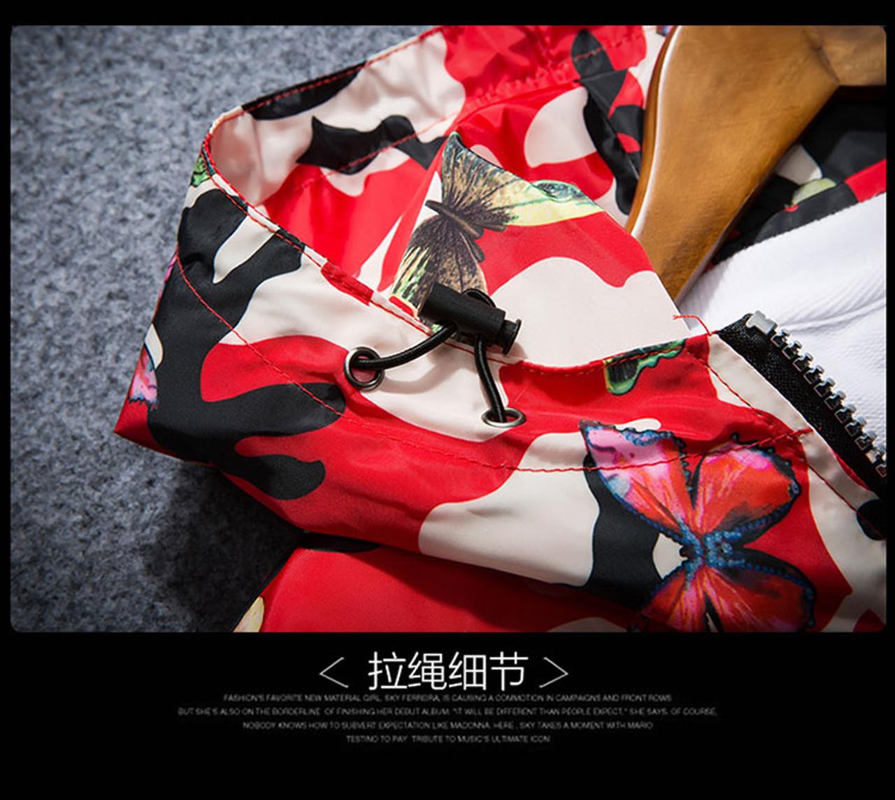 Windbreaker Jacket Thin Female Camouflage Butterfly Windbreaker Coats Hooded,Gray,M