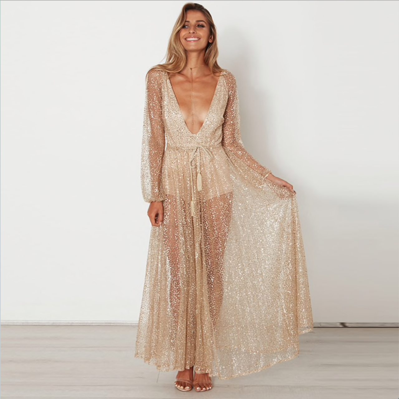 6c81f378c1a60 Women's Summer Boho Sexy Long Maxi Evening Party Dress Beach V-neck Gold  Long Sleeve Dresses Sequins Sundress Glitter
