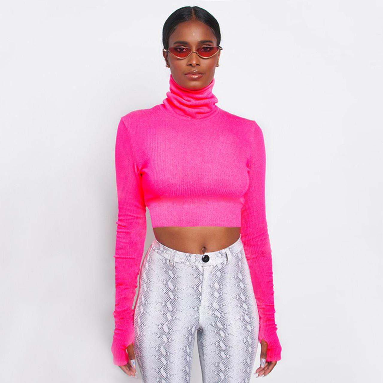 659cfef1 Women Turtleneck Ribbed Sweatshirt Long Sleeve Fluorescent Color Pullovers  Crop Slim Mujer Warm Knit Jumpers Short Tops {Hot Pink}