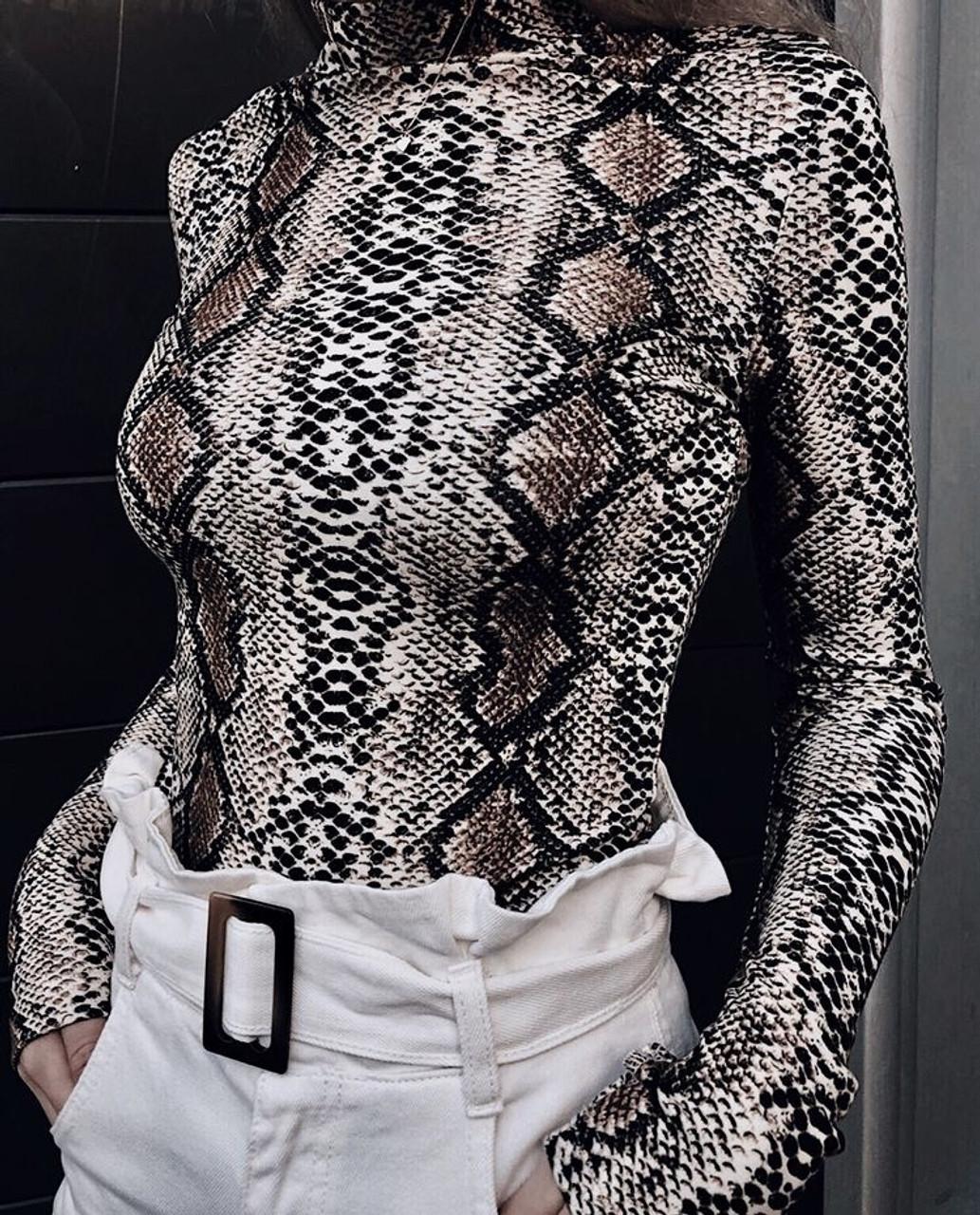 32a38b54e3a snake skin Turtleneck Long Sleeve Bodysuit Sexy Bodycon Fashion ...
