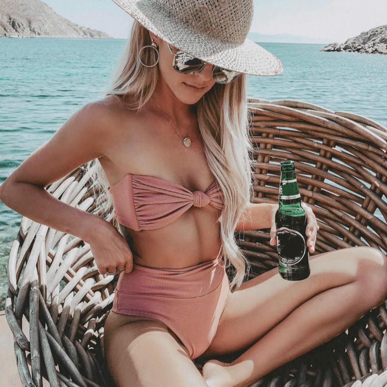 eb5306796a05f HOT Bikinis 2019 Mujer Tube Top Tie High Waisted Bikini Separate ...