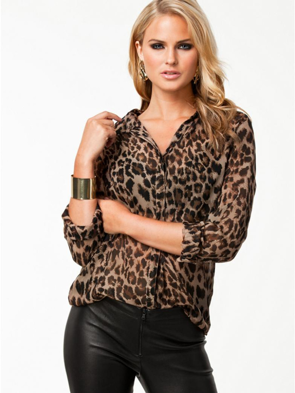 LADIES/'s Streetwear V Neck Leopard Printed WOMEN Blouse Long Sleeve Fashion Tops
