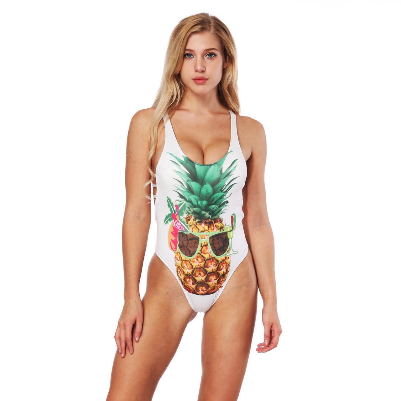 meilleur authentique 16a41 eeb01 Cool Pineapple 3D Print One Piece Swimsuit Women Swimwear Cartoon Monokini  Maillot De Bain Femme Bodysuit Female Bathing Suit