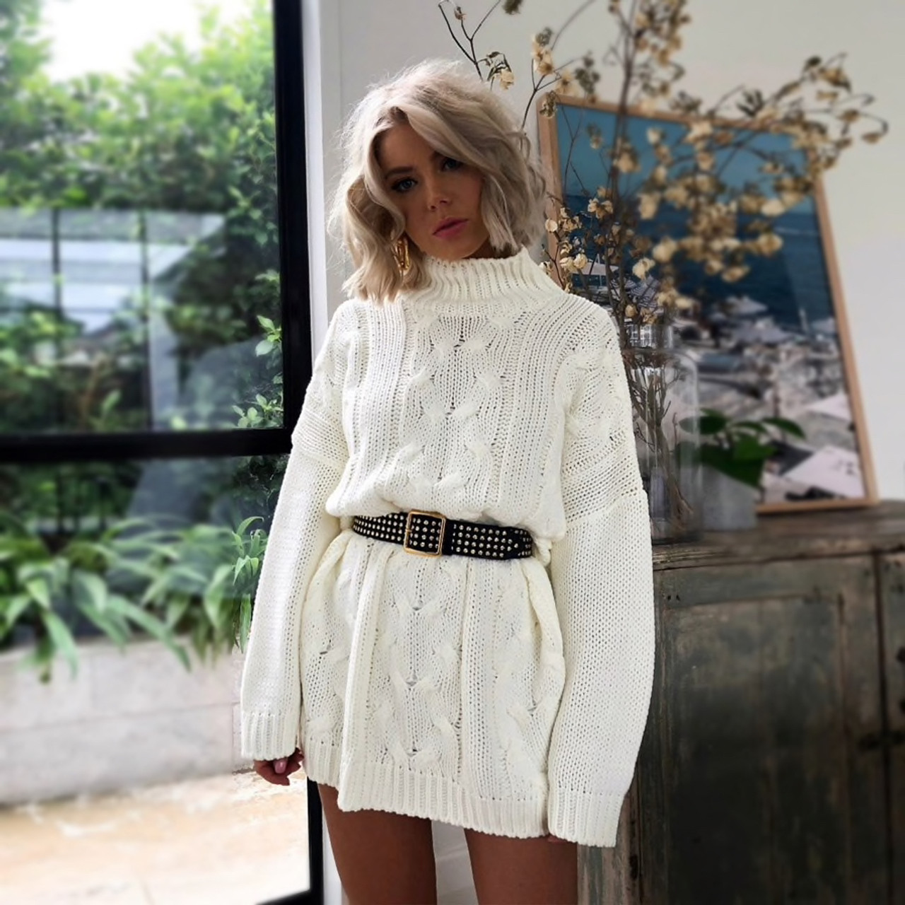 Women\'s Turtleneck Long Sweaters Winter Solid Twist Slit Dresses Loose  Knitted Pullover Plus Size Jumpers Warm White