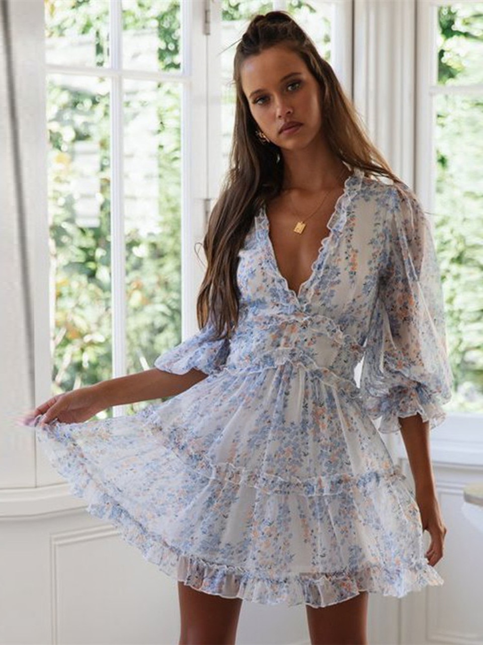 6Women Summer Sexy Deep V Long Sleeve Print Dresses Bohemian Backless  Elegant Ruffles Summer Beach Dresses DM6