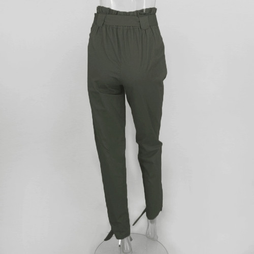 35580c1ffb Casual High Waist Ankle Length Pants Women Elastic Tie Trousers With Pockets  Running Sport Tights Trousers