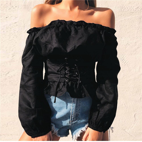 2018 Womens Blouse Sexy Strapless Lantern Sleeve Shirt Bow Waist Shirt Female Off Shoulder Ruffles Bandage Lace Up Bow Shirt Women's Clothing
