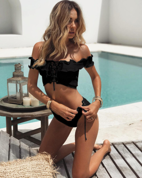 Women Off-shoulder Bikini Set Push-up Black Bra Bandage Biquini Swimsuit Bikinis Women Triangle Swimwear Bathing