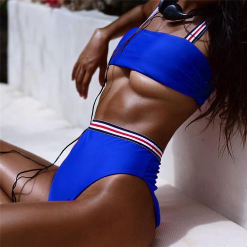 High Waist Bikini Sexy Solid Swimwear Brazilian Wide Edge Bikini Set Print High Waist Women Swimsuit Bathing Suit