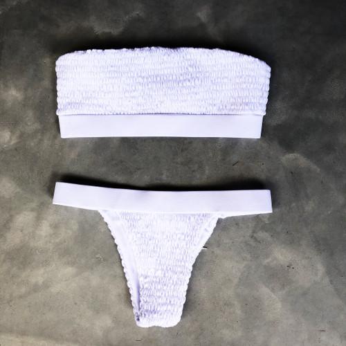 761f02ac86 Swimwear Women Pleated chest Bikini Set 2018 Bandage Swimsuit Sexy Bikini  Maillot De Bain Feme Bathing Suit Biquini