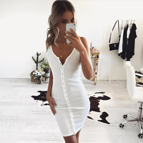 Sexy Strappy Casual Knitted Women Sweater Dress Snap Button Bodycon Party Vestido Shirt Day Midi Dresses New 2018