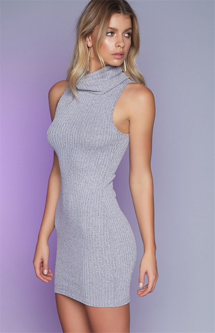 Turtleneck Sleeveless Knitted Women's Bodycon Dress Mini Party Club Wear Autumn Winter Spring Sweater Dresses