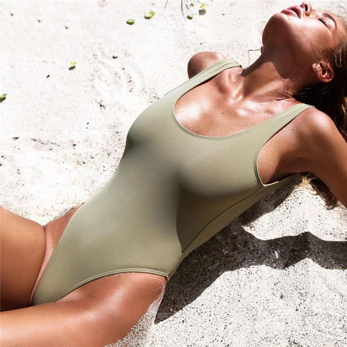 Halter One Piece Swimsuit Sexy Women Swimwear Solid Swimsuit Bathing Suit Girl Bodysuit Piece Swimwear Monokini