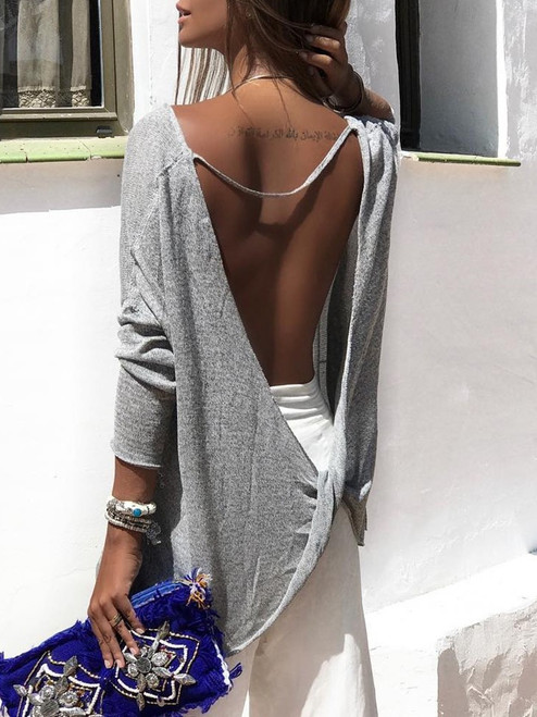 2018 New Sexy Cross Long Sleeve T-shirts Women's Hot Sale Gray Color Backless T Shirt Spring Loose Size Fashion Shirts Tops