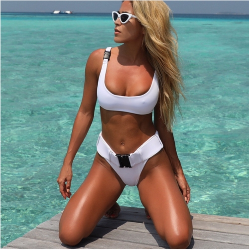2018 Biquini White Sexy High Cut Brazilian Thong Bikinis Women Swimsuit Triangle Molle Buckle Girls Swimwear Women Bathing Suits