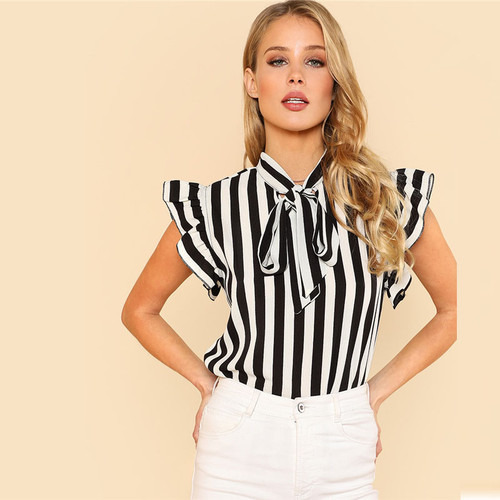 Summer Top Elegant Work Women Blouses Cap Sleeve Black and White Tie Neck Butterfly Sleeve Striped Blouse