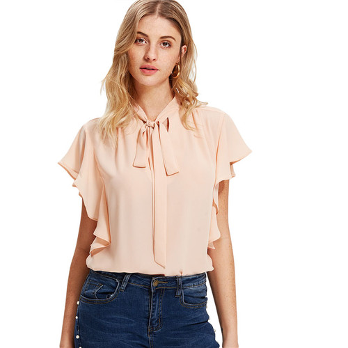 Pink Tie Neck Bow Ruffle Plain Trim Top Stand Collar Sleeveless Women OL Style Blouse 2018 Summer New Elegant Work Blouse